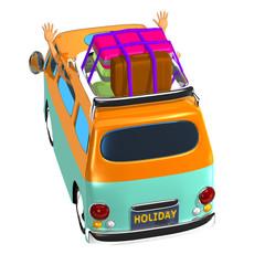 ホリデー 休暇 旅行 家族 自動車 バン イラスト