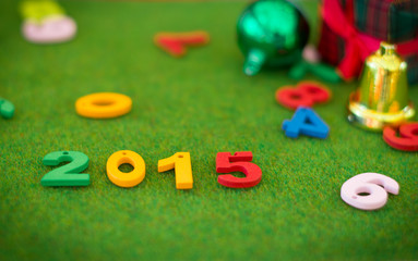 2015 Happy New Year background with colorful Number