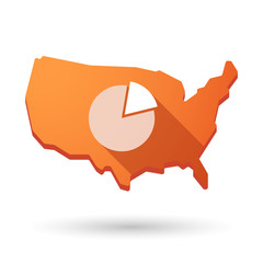 USA map icon with a pie chart