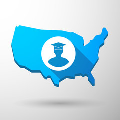 USA map icon with a student