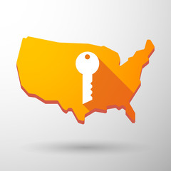 USA map icon with a key