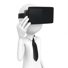3d man with virtual reality goggles
