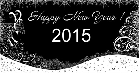 Beautiful winter background with goat New Year 2015
