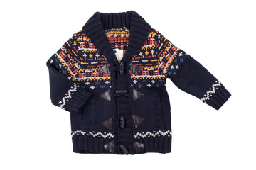 Children warm vest (sweater), isolated on white