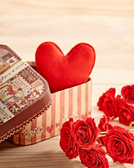 Valentines Day. Heart in gift box and Roses. Love concept