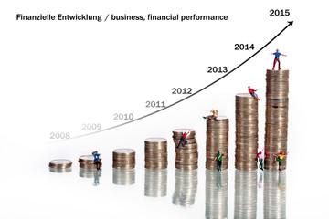 Münzen symbolisieren Wirtschaftsaufschung