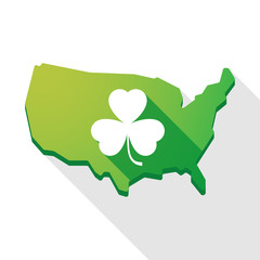 USA map icon with a clover