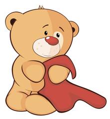 A stuffed toy bear cub and a towel cartoon
