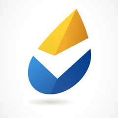 Abstract logo design template. Yellow and blue oil industry drop