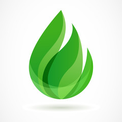 Green leaf vector logo template. Abstract design concept for eco