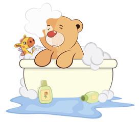 A stuffed toy bear cub in a bath cartoon