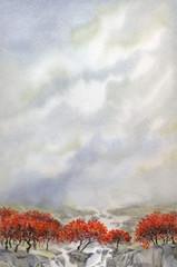 Watercolor landscape. Mountain stream flows through the autumn f