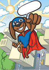 cheerful cartoon super dog flying over city