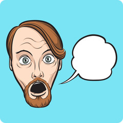 surprised bearded man with speech bubble