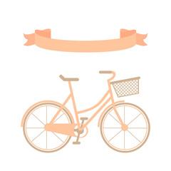 Hand drawn pink bicycle and ribbon