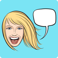 laughing girl with speech bubble