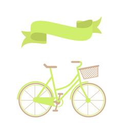 Hand drawn green bicycle and ribbon