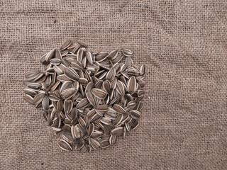 Sunflower seeds on hessian - wild bird food for winter