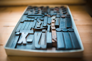 Old wooden printing type, font characters