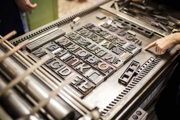 Old typography printing machine