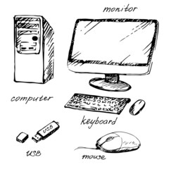 Hand drawn computer and devises.