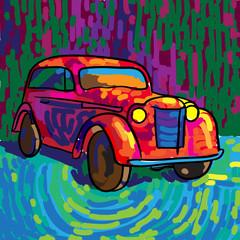Ретро автомобиль в яркой насыщенной цветовой гамме