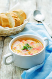 soup with salmon, potatoes and millet
