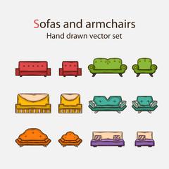 Icon set of sofas and armchairs