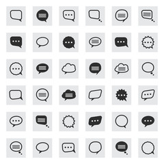 black and line speech bubble  icons