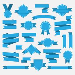 Blue ribbons,medal,award,set isolated on white background.