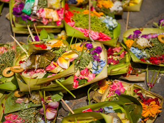 Traditional balinese offerings to gods in Bali