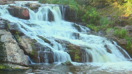 Time lapse of beautiful waterfall in forest, natural landmark