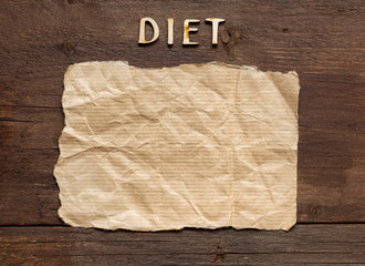 The word of Diet on wooden background