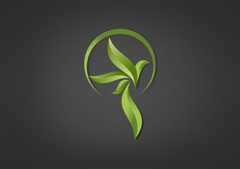 Herbal Logo Business Icon Bird Symbol leaf Green Vector.