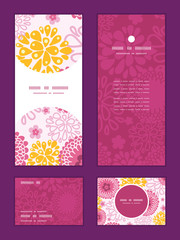 Vector pink field flowers vertical frame pattern invitation