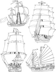 Set with shilhouettes of sailing ships
