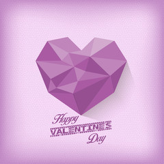 vintage valentines day with geometrical heart purple