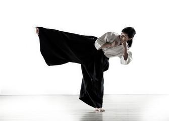 beautiful woman holds a kung fu