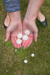 Hands ful of hailstones after hailstorm