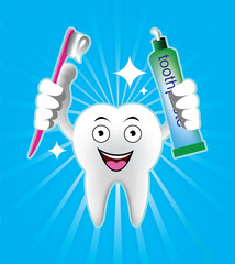 Cartoon Smiling tooth with toothbrush and toothpaste
