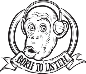 whiteboard drawing - born to listen chimp