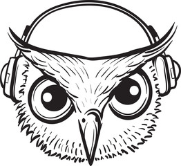 whiteboard drawing - owl with headphones
