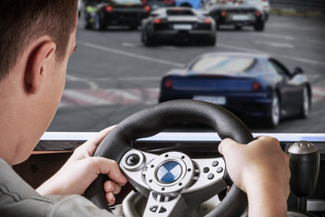 gamer driving autosimulator