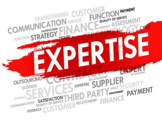 Word cloud of Expertise related items, presentation background