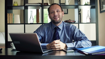 Portrait of happy, successful businessman with laptop at home