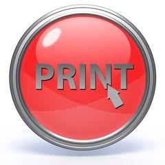 Print circular icon on white background