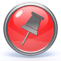 Safety pin circular icon on white background