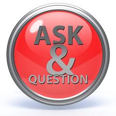 Q&A  circular icon on white background