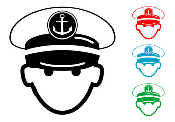 Pictograma icono capitan de barco con varios colores