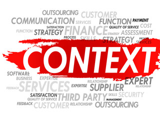 Word cloud of CONTEXT related items, presentation background